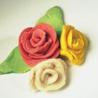 Yellow, red, and white salt dough roses
