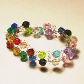 A brightly colored bead bracelet