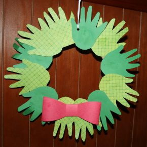 A wreath made from handprints