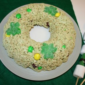 Rice Krispy treats shaped into a St. Patrick's Day wreath