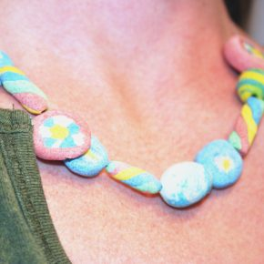 A colorful necklace made with salt dough beads