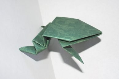 A jumping paper frog