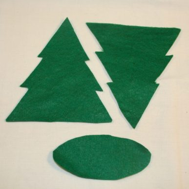 A Christmas tree cut out of green felt