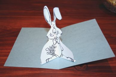 A bunny pop up card