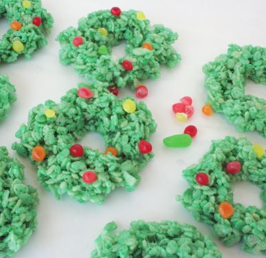 Rice Krispy Treat wreaths decorate with colorful candies.