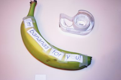 Letter taped to a banana