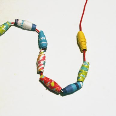 Colorful paper beads on a string