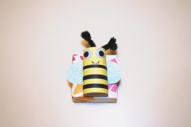 A bee on a box.
