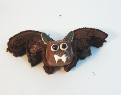 A decorated brownie bat
