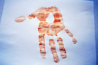 A brown handprint