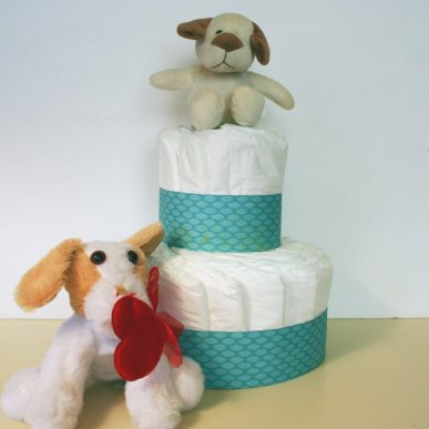 A two layer diaper cake