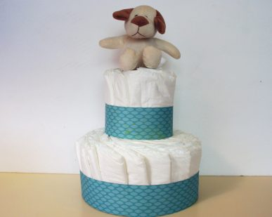 A blue and white diaper cake.