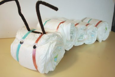The head and face of the diaper caterpillar.