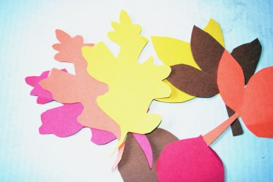 Autumn leaves cut from colored paper