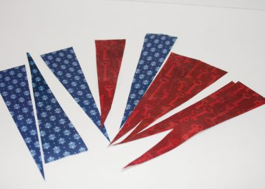 Red and blue paper triangles