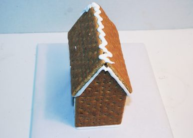 An assembled gingerbread house