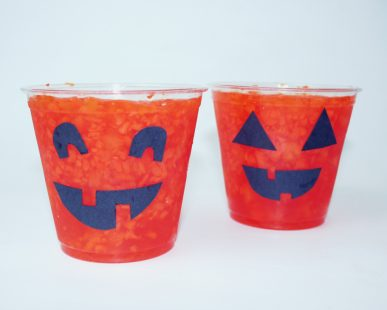 Jello cups that look like Jack 'o Latterns