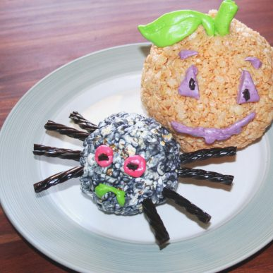 A popcorn spider and a Rice Krispy pumpkin