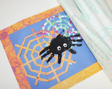 Covering the spider placemat with contact paper
