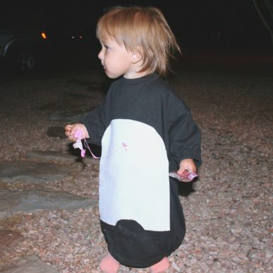 A toddler in a penguin costume
