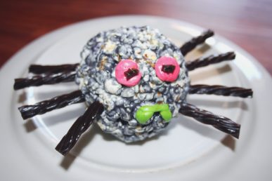 A popcorn ball spider for Halloween