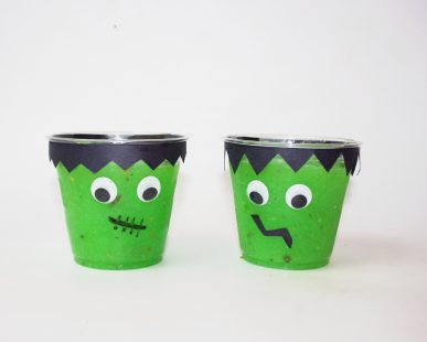 Two Frankenstien pudding cups