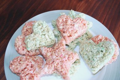 Rice Krispy treats on a plate