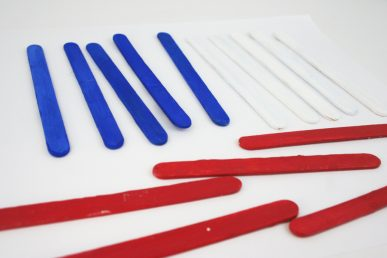 Red, white, and blue popsicle sticks