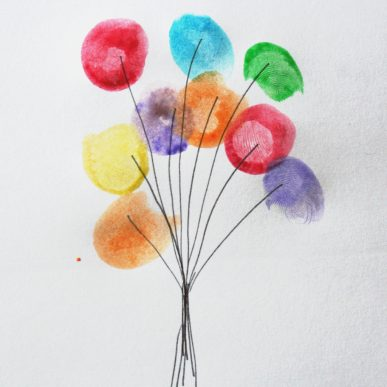 Colored balloons made with thumb prints