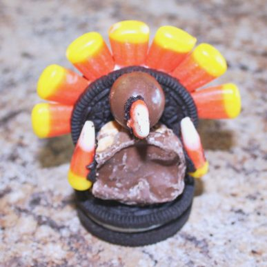A turkey made out of Oreos and candy