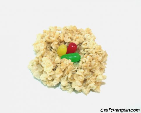 Colored eggs in a Rice Krispy bird next