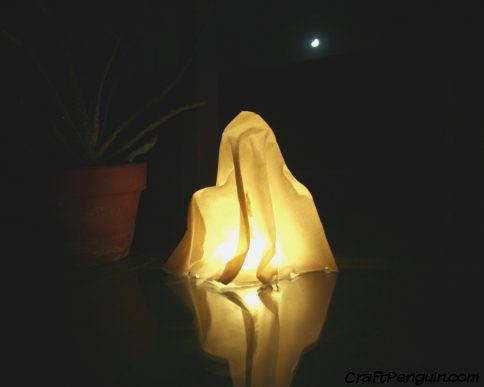 A Halloween ghost that flickers and glows