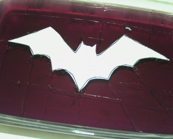 Cut out the bat pattern and score the jello