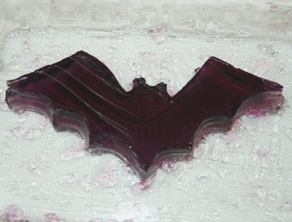 A bat make from purple jello