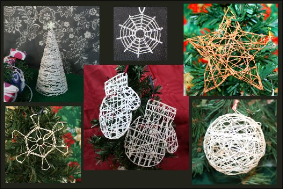Christmas crafts made with starched string